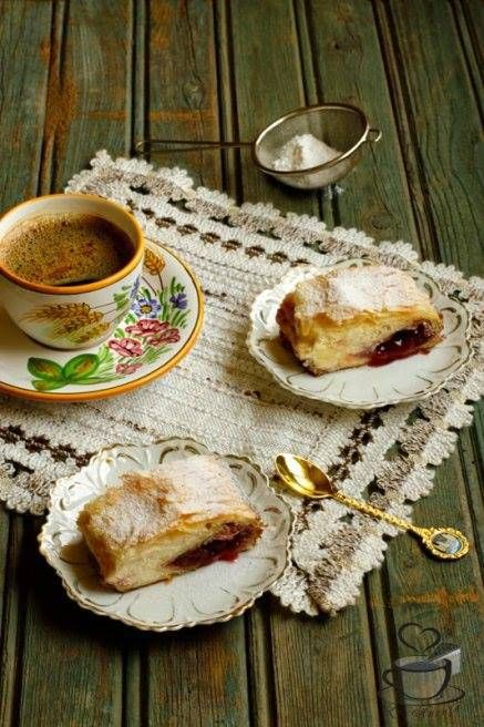 Strudel with cherry and cheese