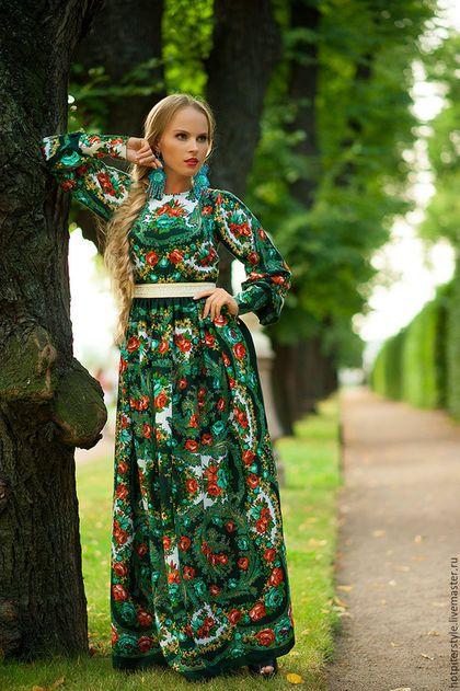 Платье в Русском стиле , А-ля Русс , платье из платков.