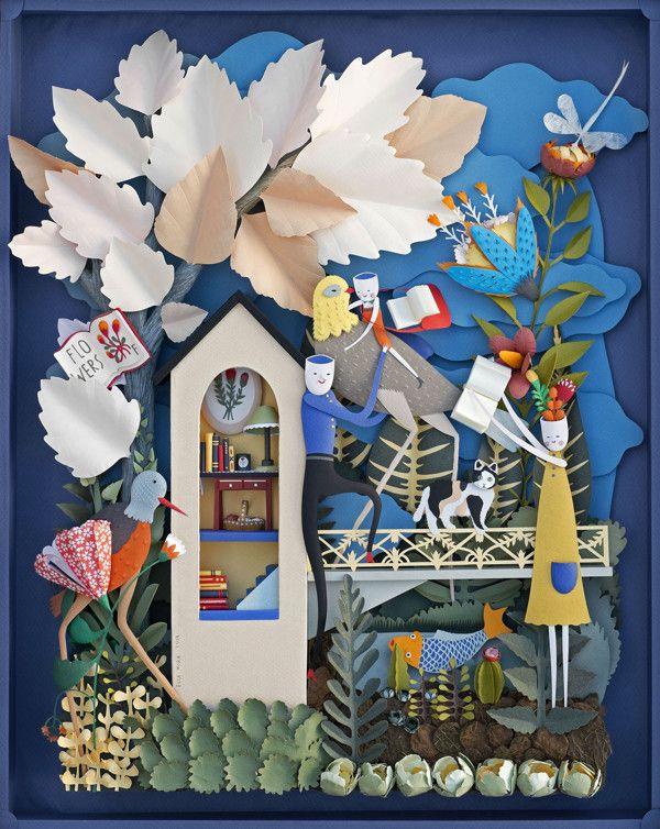 Paper Sculpture. Garden of Books. - Elsa Mora.