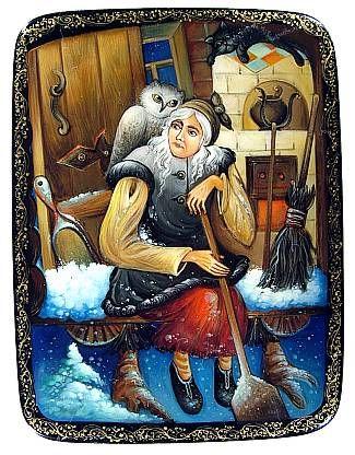 """""""BabaYaga"""" Lacquer Art by N Kazakova (Mstera)"""