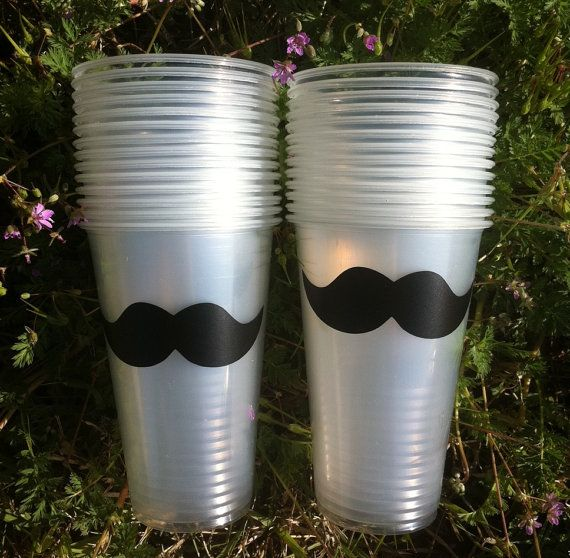 24 Mustache Party Cups, Mustache Party, Mystery Party Cups on Etsy, $14.50