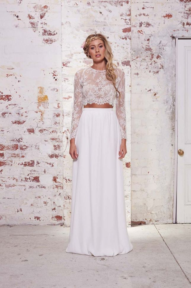 How gorgeous is this two-piece wedding dress?
