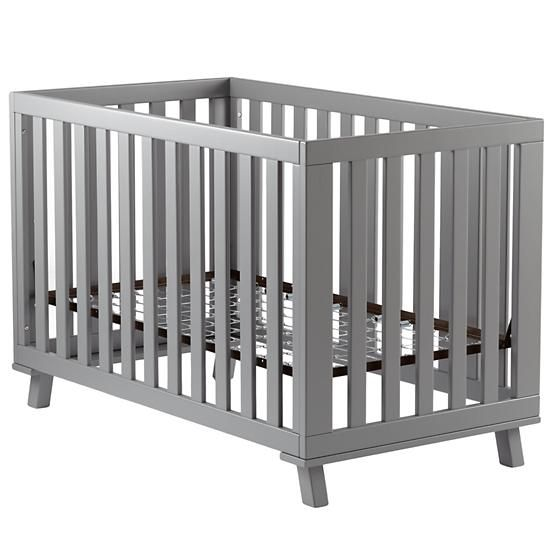 Grey Low-Rise Crib (Grey Frame and Grey Base) in Cribs & Bassinets | The Land of Nod