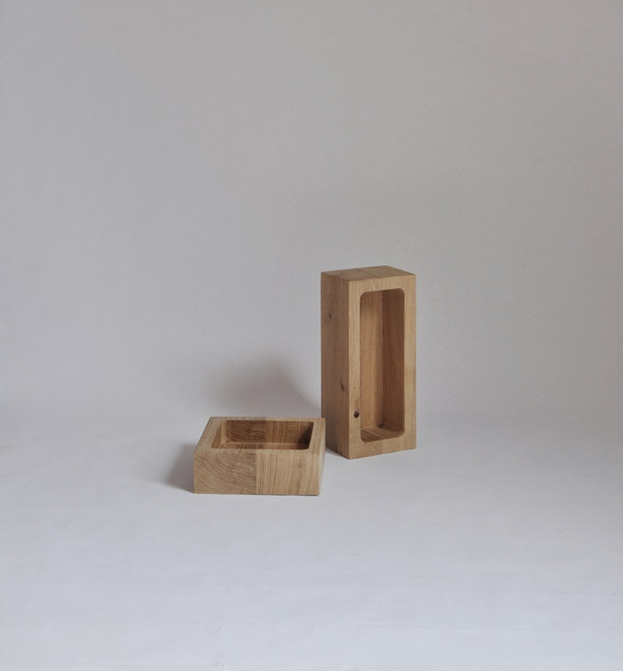 """Matylda Krzykowski and Kaspar Hamacher, """"Display Case"""", wooden containers made of oak wood. Photo courtesy of the artist"""