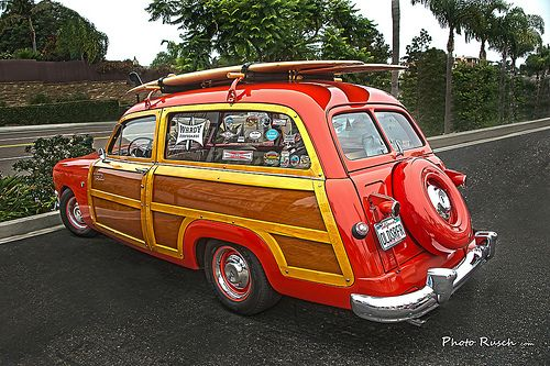 1951 Ford Country Squire Red Woodie Wagon with two Surf Boards from flickr