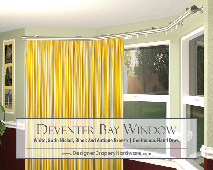 super stylish and sleek handdraw curtain rod for bay windows continuous curves