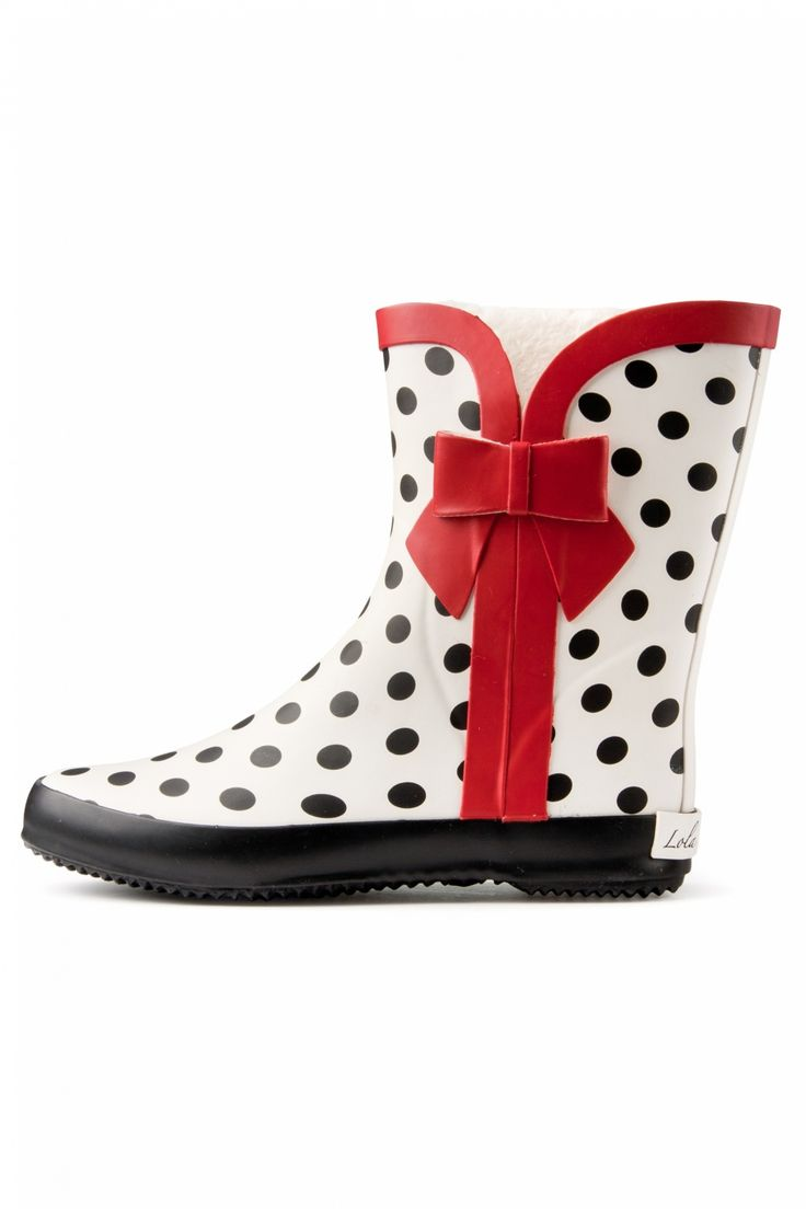 Wellie Polka Dot Red Bow Rubber boots