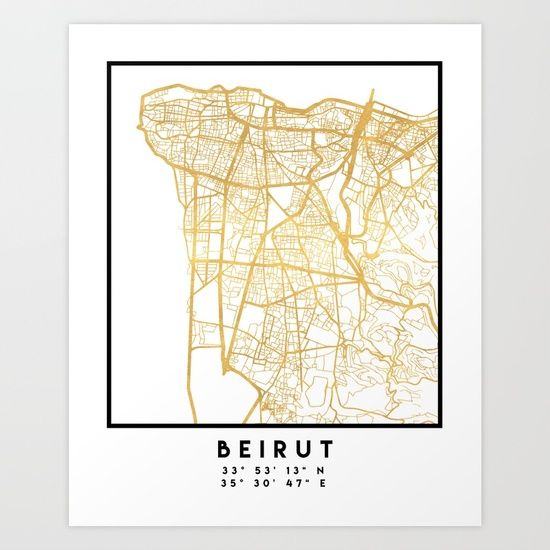 BEIRUT LEBANON CITY STREET MAP ART -  An elegant city street map of Beirut, Lebanon in gold, with the exact coordinates of the city, make up this amazing art piece. A great gift for anybody that has love for this city. You can never go wrong with gold. I love my city.  graphic-design digital typography stencil illustration beirut lebanon downtown street map coordinates souvenir gold gift city