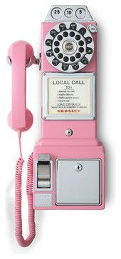 1950's Classic Pay Phone - Pink - traditional - Home Electronics - Pot Racks Plus