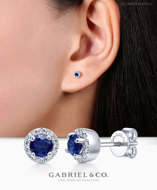 f1ee2ddf6 14k White Gold Round Sapphire & Diamond Halo Stud - EG9682W45SA in 2019 |  Earrings | Sapphire diamond, Halo diamond, Earrings