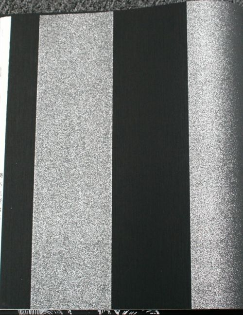Silver Sparkly On Black Broad Stripes Glitter For The