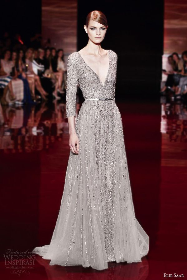 elie saab fall winter 2013 2014 couture three quarter sleeve beaded v neck gown