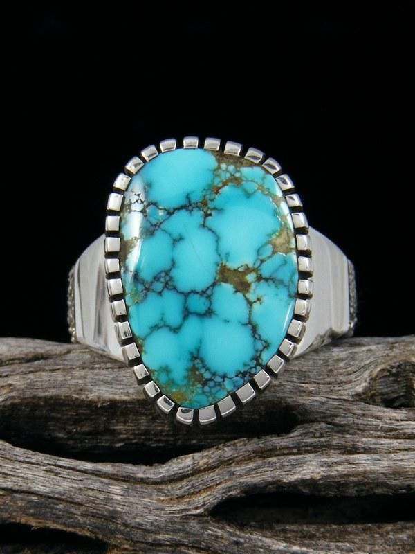 Craig Agoodie Natural Sierra Nevada Turquoise Sterling Silver Ingot Ring, Size 8