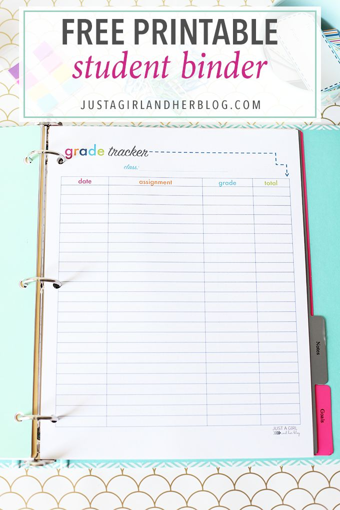 Organizing Resources and Tips Student binders, Binder and Free - project timetable