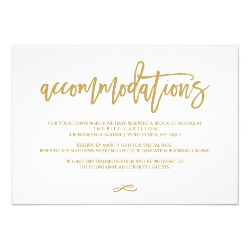 Chic Hand Lettered Gold Wedding Accommodations                              …