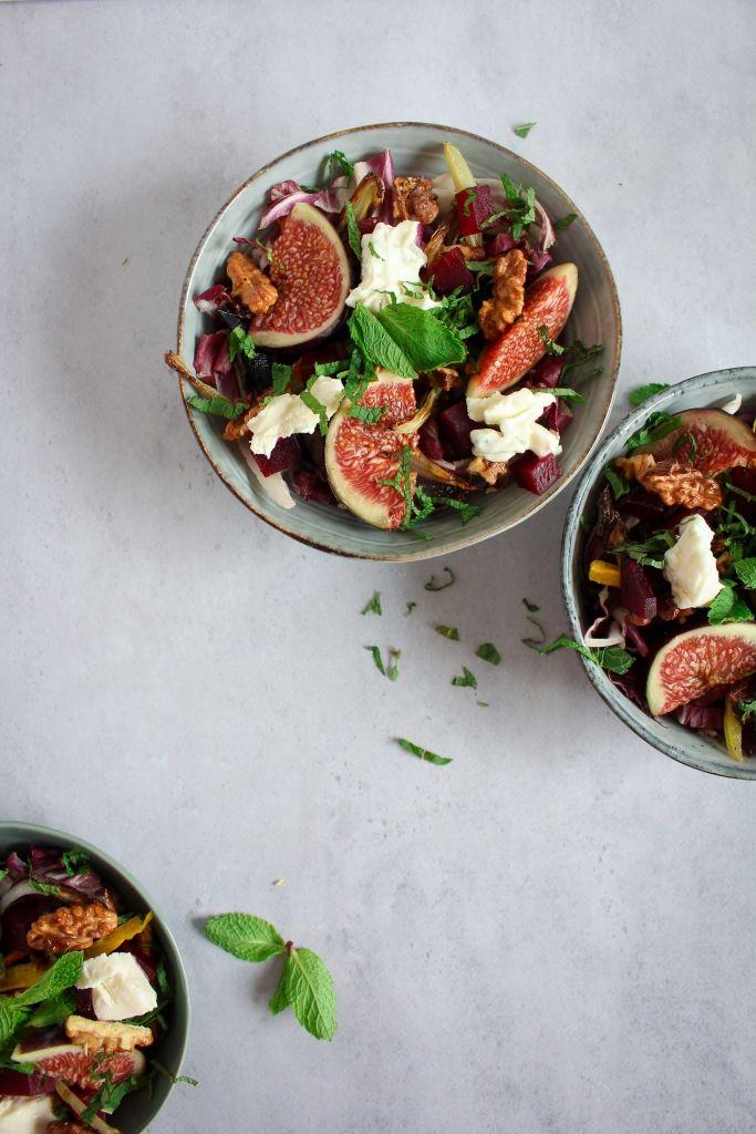 Salade met vijgen en geroosterde groenten / www.eenlepeltjelekkers.be #vega #recept