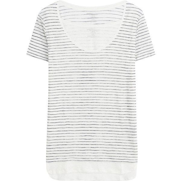Majestic Striped Linen T-Shirt ($115) ❤ liked on Polyvore featuring tops, t-shirts, stripes, linen t shirt, relax t shirt, white linen t shirt, stripe t shirt and striped tee