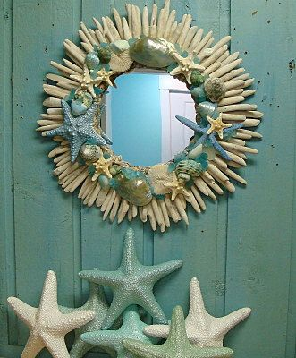 Seashell Driftwood Mirror Beach House Wall Decor  by CastawaysHall