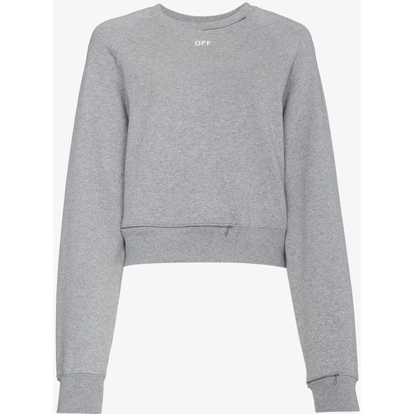 Off-White Cropped Cutout Sweatshirt ($660) ❤ liked on Polyvore featuring tops, hoodies, sweatshirts, grey, cut out sweatshirt, champagne top, cutout tops, cotton sweatshirts and cotton crop top