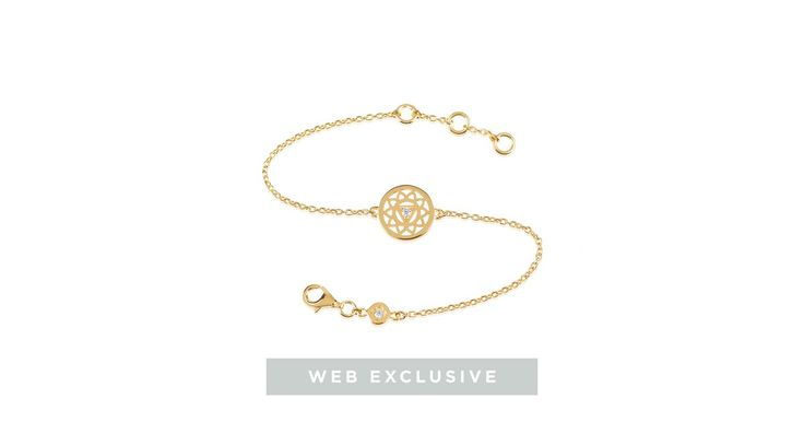 The Solar Plexus Chakra is emotionally connected with personal power, self-confidence, and the ability to have self-control and strives towards self-definition. The Solar Plexus Chakra Sparkle bracelet is hand crafted in 18ct gold plated sterling silver featuring two cubic zirconia gemstones bringing a touch of glamour to your outfit. A luxe twist on our best selling design, choose the Chakra symbol that best represents your inner self and wear jewellery with meaning as a reminder of what…
