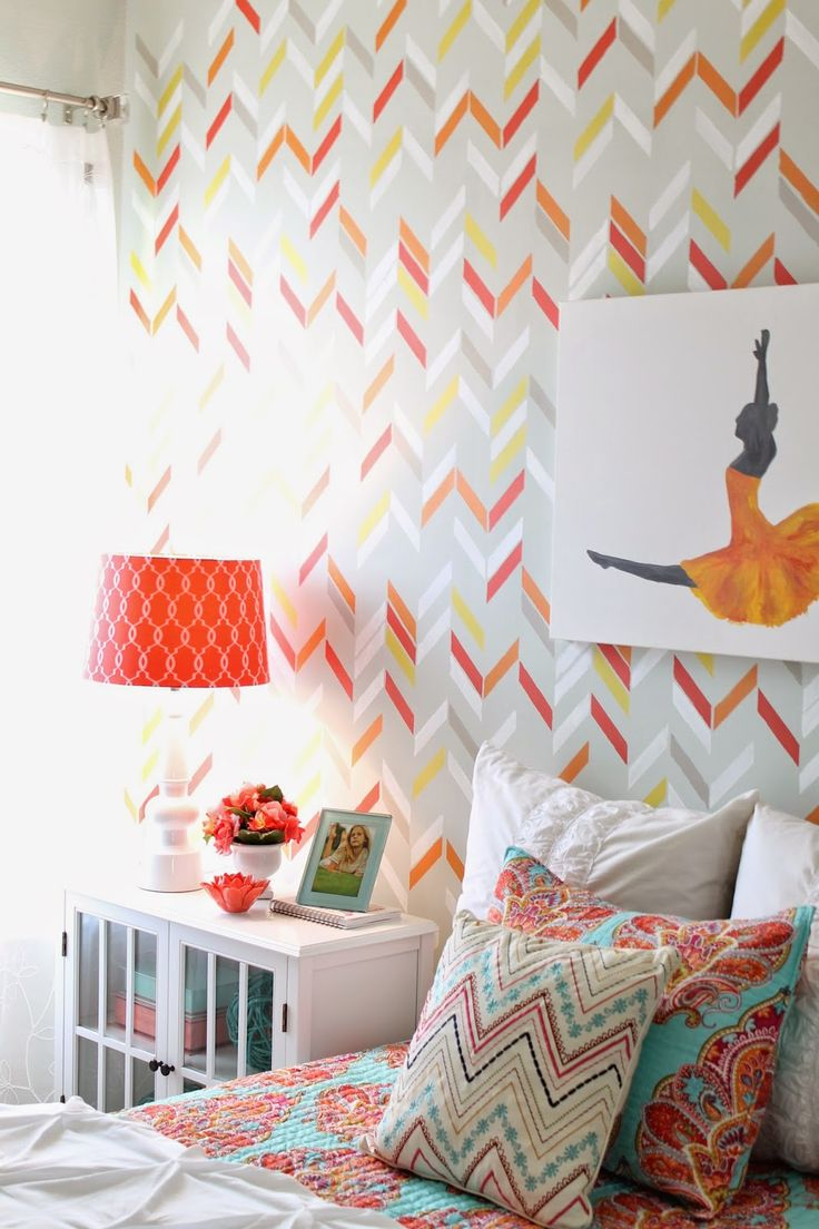 90 best room ideas images on pinterest bedrooms bedroom ideas diy bedroom makeover redo colorful painted pattern in girls room with modern herringbone shuffle