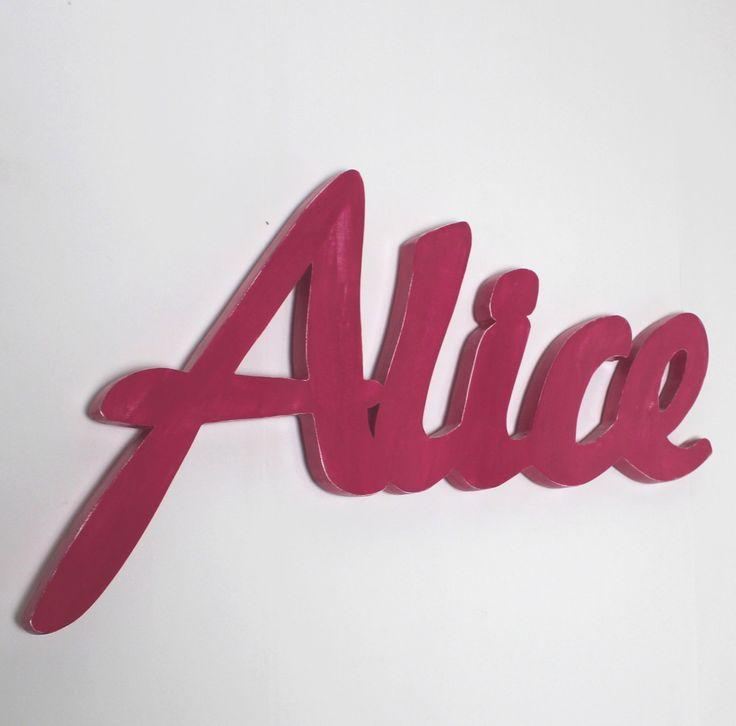 prénom géant Alice rose framboise patiné - naissance - lettres personnalisées - mylittledecor : Autres bébé par mylittledecor