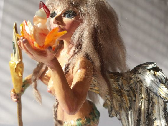 One of a Kind Handmade Valkyrie Art Doll  by ArtBurstImagination