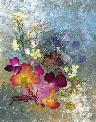 pond series 2 of 3 pressed flower art giclee print