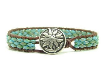 Turquoise Blue Picasso Super Duo Beaded Leather Wrap Bracelet, Blue, Single Wrap, Boho Jewelry