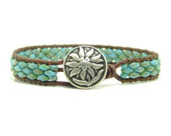 Turquoise Blue Picasso Super Duo Beaded Leather Wrap Bracelet, Blue, Single Wrap, Boho Jewelry