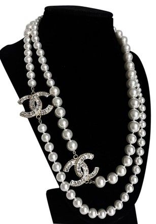 450eb87f1 Price Dropped New Pearl Crystal Cc Long Gold Necklace | My Selling ...