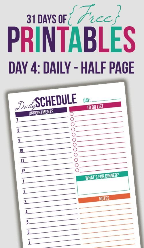 Half letter size daily schedule printable (perfect for Arc Jr or A5 Filofax planners).