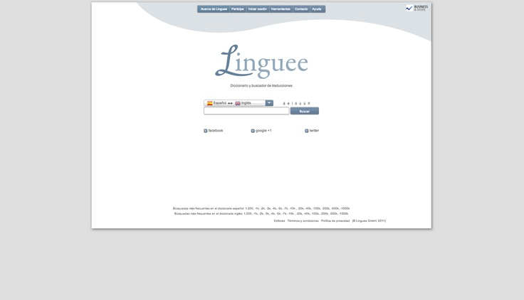 Linguee.es – Memoria de traducción, Diccionario inglés-español