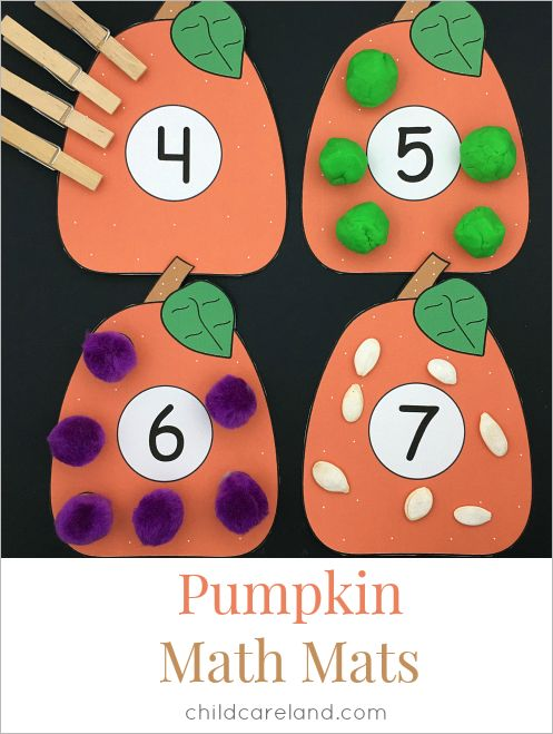Pumpkin math mats for counting and number recognition as well as fine motor development.