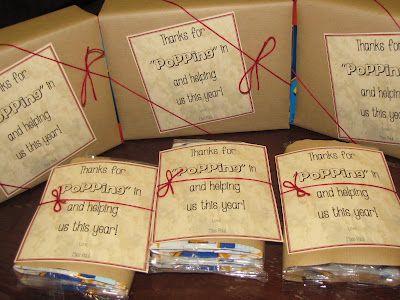 "Thanks for ""popping"" in parent helper gift idea (popcorn)"