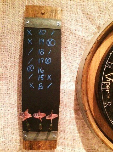 Wine barrel stave chalkboard dart scorers by WineyGuys on Etsy