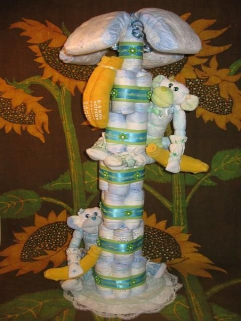 Diaper Tree...instead of a diaper cake.  Probably doing a jungle theme.