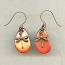 Earrings - Orange Dragonfly Earrings @antelopebeads.com #vintage #beading