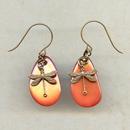 Earrings - Orange Dragonfly Earrings @antelopebeads.com #vintage #beading