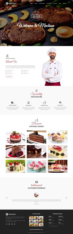 Madison Responsive Premium Joomla Template #cakeshop #pastryshop #bakery #website