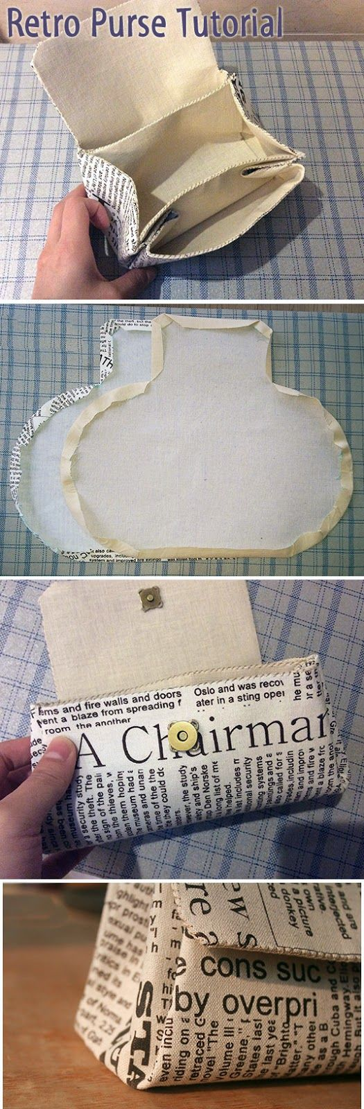 Simple Retro purse clutch of cotton. Step by step instructions for sewing…