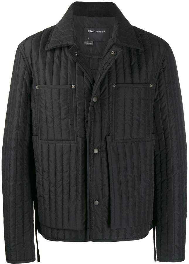 Craig Green Quilted Worker Jacket In 2020 Quilted Jacket Outfit Jackets Leather Jacket Men