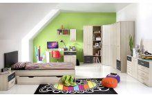 Dětský pokoj pro studenta s širokou nabídkou prvků. Nechybí rohová skříň, knihovna, komody a důmyslný psací stůl.