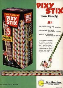 Pixy Stix. Pixy Stix contents were originally sold as a drink mix in the 1940s but the manufacturer learned that kids were eating the sweet and sour powder right out of the package instead of mixing it with water. In the 1950s the tasty powder was repackaged as Pixy Stix.: