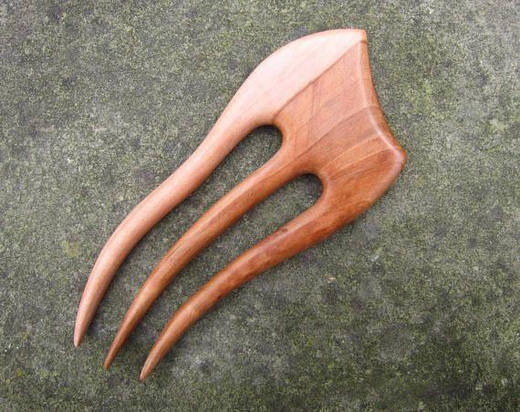 Wooden Hair Fork hairfork wood hair stick wood 3 prong