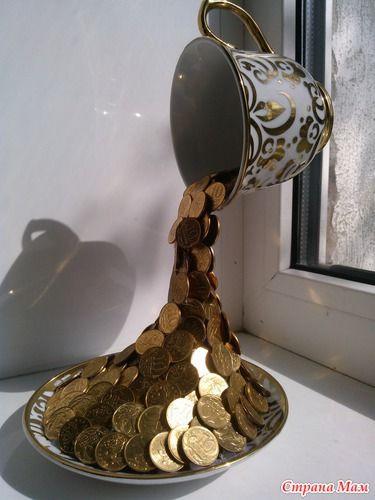 Парящая чашечка с монетками - Поделки - Страна Мам