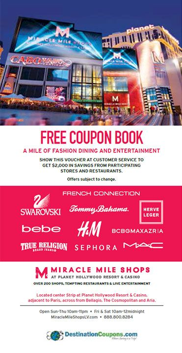 Miracle Mile Shops coupon: Las Vegas, Nevada. Save with Free Discount Travel Coupons from DestinationCoupons.com!