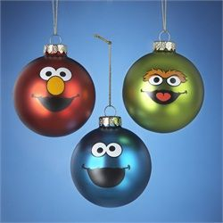 "Pack of 6 Sesame Street Elmo, Cookie Monster and Oscar Glass Ball Christmas Ornament 3.25"" (80mm) Officially licensed merchandise  Depicts the famous faces of Oscar, Cookie Monster and Elmo on the the corresponding colored ornaments"