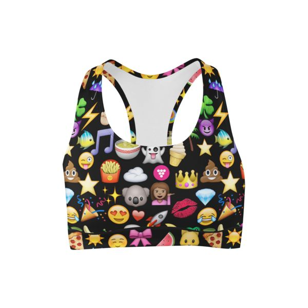 Black Emoji Printed Sports Bra - Berry Jane