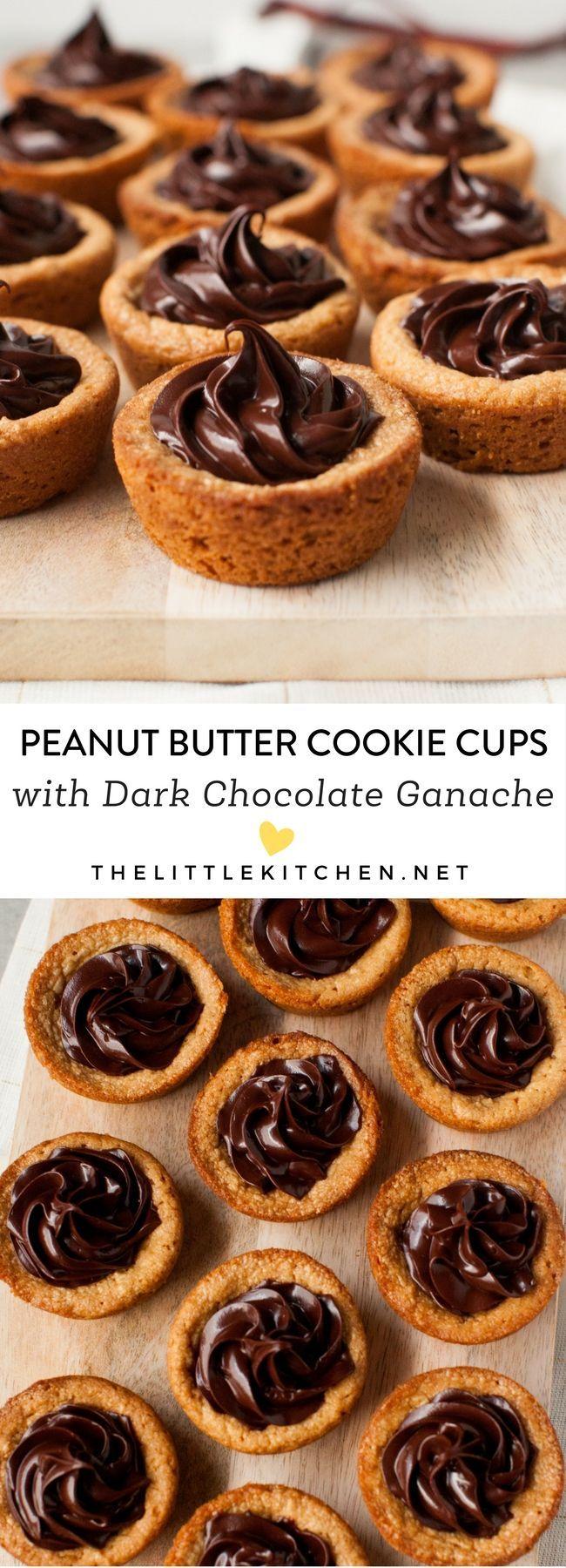 Peanut Butter Cookie Cups with Dark Chocolate Ganache from thelittlekitchen.net